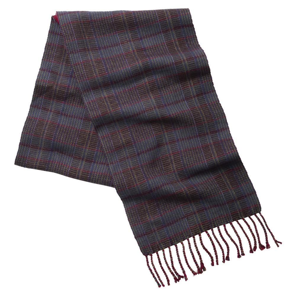 Schoffel Country Merino Check Scarf Ruby
