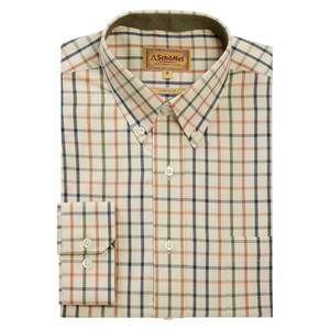 Schoffel Country Brancaster Shirt in Dark Olive-Brick