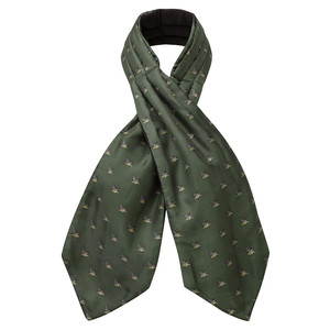 Schoffel Country Silk Shooting Cravat in Dark Olive